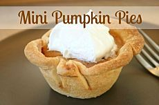 I've baked cute mini pumpkin pies in a muffin tin. They make for perfect individual portions. These would be a great way to prepare your pie for dessert this Thanksgiving.