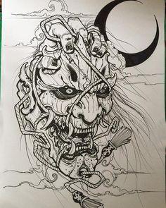 Oni Tattoo, Dark Tattoo, Samurai Maske Tattoo, Hannya Maske Tattoo, Japanese Demon Tattoo, Japanese Sleeve Tattoos, Tattoo Sketches, Tattoo Drawings, Tattoo Crane