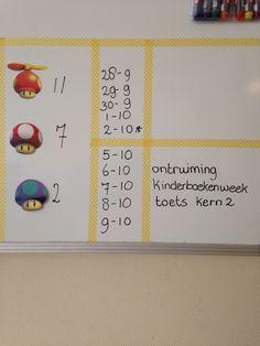 LeerKRACHT leerlingbord in groep 3. Een planning van twee weken en de plaatjes helpen de kinderen bepalen hoe ze zich voelen. Werkt goed voor na het buiten spelen.