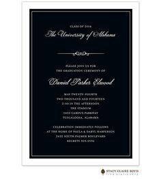 Formal Graduation Announcement Invitation in black and white | Little Angel Announcements