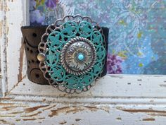 TURQUOISE Mixed METAL Leather Cuff Bracelet by BellaNotteDesigns, $30.00