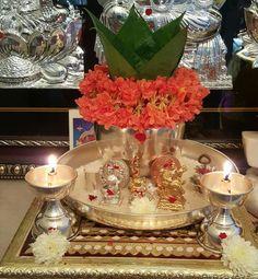 "Varalakshmi Vratham or Varalakshmi Vrat is the festival to appease Goddess Lakshmi, the consort of Lord Vishnu. Vara means that ""boon"" and Lakshmi means ""Goddess of Wealth"". Gauri Decoration, Kalash Decoration, Thali Decoration Ideas, Diwali Decorations At Home, Festival Decorations, Flower Decorations, Ceremony Decorations, Rangoli Designs Flower, Flower Rangoli"