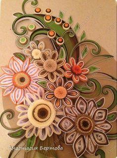 Картина панно рисунок Квиллинг Цветочный узор Бумажные полосы фото 13