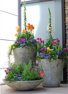Beautiful flower combinations and the gray pots keep all the attention on the colorful flowers.