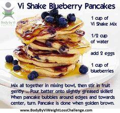 Visalus Recipes  Vi Shake Blueberry Pancakes    www.BodyByViWeightLossChallenge.com