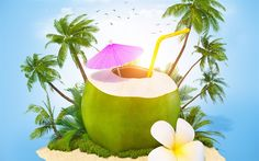 Download wallpapers Summer travel, 3d island, coconut cocktail, palm trees, sand, relaxation