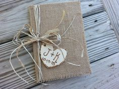 rustic wedding guest book, fall wedding, autumn wedding, country wedding book burlap wedding, shabby chic wedding book on Etsy, $29.95