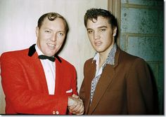 The ORIGINAL: This photo by Tommy Edwards shows Elvis Presley shaking hands with Bill Haley at Brooklyn High School Auditorium in Cleveland, OH on Thursday, October Rock And Roll, Rock N, U2 Zooropa, Tommy Edwards, Bill Haley, Rock Around The Clock, Young Elvis, Star Wars, Elvis Presley Photos