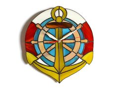 Anchor wall clock with ship wheel and lifebuoy made by ZangerGlass