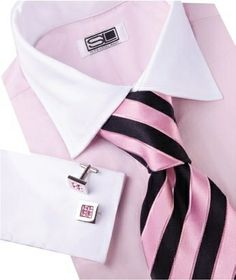 Classic Look With Bold Striped Tie & Platinum Crystal Cufflinks