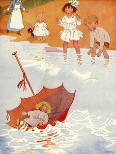 Honor C. Appleton (1879 – 1951, English)  Mother's Three - Parasol Panic!
