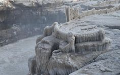 Icicles seen at Hukou Waterfall on Yellow River