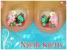 Megustan Cute Pedicures, Pedicure Nails, Diy Nails, Manicure, Cute Toe Nails, Toe Nail Art, Love Nails, Wonder Nails, French Pedicure