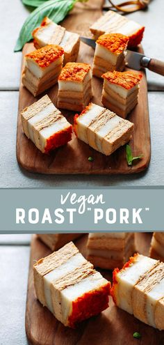 """Learn how to make vegan """"Roast Pork"""" that is crispy on the outside, chewy on the inside and with layers of (coconut) fat. You will be surprised by how meaty and real it looks and tastes! Vegan Roast, Vietnamese Cuisine, Meat Substitutes, Piece Of Bread, Thin Crust, Fresh Bread, Pork Belly, Pork Roast, Vegan Vegetarian"""