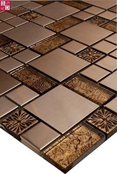 1 Matte Glasmosaik Mosaikfliesen Edelstahl Gold Braun Getönten Schwarz Silber