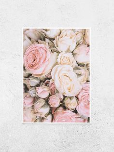 Interior Design For Bedrooms Pink Wall Art, Floral Wall Art, Wall Art Decor, Cream Flowers, Pink Flowers, Pink Roses, Pink Rose Bouquet, Flower Prints, Flower Wall