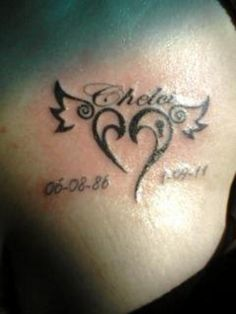 Small Memorial Heart Tattoo On Tattoos For Daughters, Arm Tattoos For Guys, Trendy Tattoos, Daughter Tattoos, Tiger Tattoo Design, Wing Tattoo Designs, Remembrance Tattoos, Memorial Tattoos, Tatouage Rip
