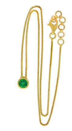Colombian Emerald Necklace  Emerald Pendant  Emerald Gold