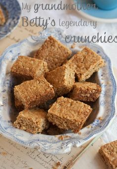 """my grandmother betty's crunchie recipe: its a legend. """"As I am on a baking mission to unearth, discover and divulge the best version of a variety of baked goods that I love, this recipe is the best one for crunchies. Baking Recipes, Cookie Recipes, Dessert Recipes, Dessert Bars, Chocolate Chip Cookies, Mini Cookies, Chocolate Tarts, Yummy Cookies, Crunchie Recipes"""
