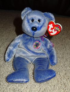 120aefd7216 TY Beanie Baby Periwinkle Beanie E Baby Bear PE Pellets 2000 Mint - TH  Ty