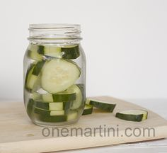 Cucumber Infused Vodka tutorial http://onemartiniatatime.com/cucumber-infused-vodka/