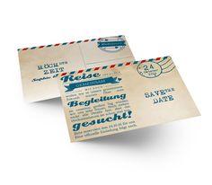 Außergewöhnliche Save the Date Karte im Airmail Stil, die mit außerdem im Vintage Look glänzt Save The Date Karten, Vintage, Card Wedding, Marriage, Invitations, Vintage Comics, Primitive