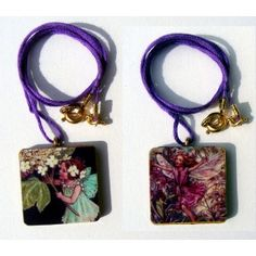 Hand made, wearable art, picture charm pendant.on fine necklace. Flower fairy.
