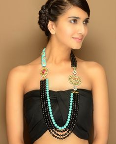 Black Stone Mesh Necklace with Turquoise Strand  by TAD