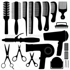 Buy Hair Accessories Silhouette Vector by Leremy on GraphicRiver. This is a set of hair accessories and equipments in silhouette. This set illustration include a variety of comb desig. Silhouette Clip Art, Silhouette Images, Vector Graphics, Vector Art, Vector Stock, Hair Vector, Download Hair, Salon Art, Hair Images