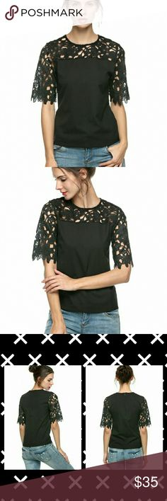 Women's Lace Sleeve Splicing Chiffon Shirt Tops Very cute Black lace shoulder top! Only wore to try on, was a bit snug on me. Please feel free to ask any questions, thank you. New without tags. Thank you. Tops Blouses