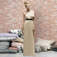 Bridal/bridesmaid  dress in gold- love the contrast with the black sash!