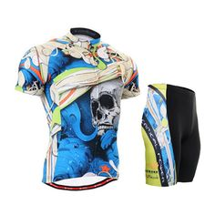 57.90$  Watch here - http://alikkn.worldwells.pw/go.php?t=32271575441 - LIFE ON TRACK Cycling Jerseys Set Summer Mens Short Sleeve Sports Bike Clothing Cycling Bicycle Jersey Sportswear Blue Skull