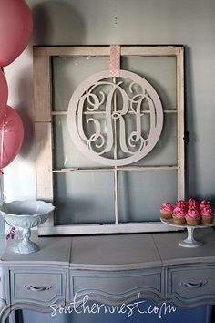 I need to do this with some old windows that are hanging out in my garage!  Large 18 Wooden Circled MonogramReady to by charminglittlenest, $54.00
