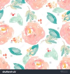 cute watercolor floral pattern with painted peony flowers and leaves peach digital paper flower background
