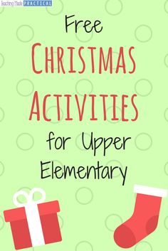 holiday activities Free Christmas Activity printables for your students in upper elementary. Christmas Activities For School, Christmas Worksheets, Holiday Classrooms, Classroom Ideas, Ela Classroom, Future Classroom, Upper Elementary, Montessori Elementary, Elementary Teacher
