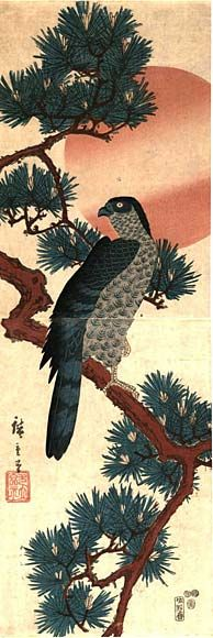 Hawk in pine tree, dyptych -Hiroshige