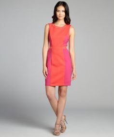style #321982201 coral and fuchsia ponte sleeveless seamed studded dress  $99 - A little color block goes a long way!!!!