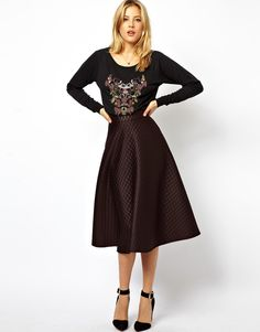 LOVE this full quilted midi skirt!  So classy & retro.