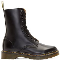 Dr. Martens Black 10-Eye Alix Boots ($135) ❤ liked on Polyvore featuring shoes, boots, ankle booties, sapatos, black booties, zipper boots, black boots, black lace-up boots and leather lace up boots