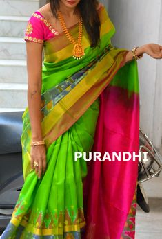 Parrot green uppada checks saree with pochampally border. For more details please contact us on whats app : 9701673187 Email : purandhistore@gmail.com