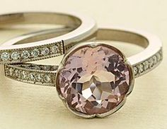 My engagement ring and wedding band but in pink!