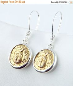 CYBER MON. SALE Medusa - 18K Gold - 925 Sterling Silver - Ancient Coin Earrings, fish hook - silver coin earrings by CoinJewelrySilver on Etsy https://www.etsy.com/listing/251128439/cyber-mon-sale-medusa-18k-gold-925
