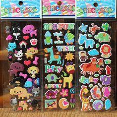 5pcs/lot Fashion Brand Kids Toys Cartoon Cute Animals Zoo 3D Stickers Children girls boys PVC Stickers Bubble Stickers
