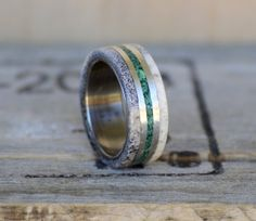 Mens Wedding Band: Natural Shed Elk Antler and Green Malachite Stone Inlay Separated by Silver Inlays. Stag Hound, Elk Head Design