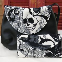 Black and White Goth, Antique, Skull and Spider Cross Body Purse and W