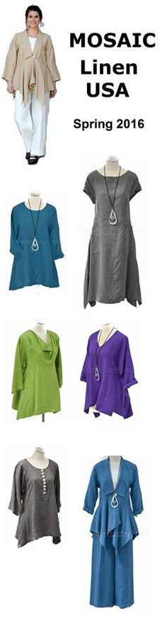 MOSAIC: beautiful light-to-mid-weight linen separates, machine-washable and made in the USA. #linenclothing