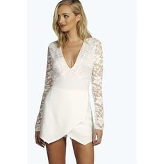 Boohoo Tall Tall Sarah Wrap Front Lace Sleeve Skort Playsuit ($26) ❤ liked on Polyvore featuring jumpsuits, rompers, ivory, white golf skirt, white skort, lace rompers, tall romper and floral romper