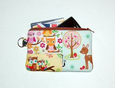 Woodland Animals Patchwork - iPhone / iPod / Cell Phone / Gadget Zipper Pouch (Only One Made and Ready To Ship)