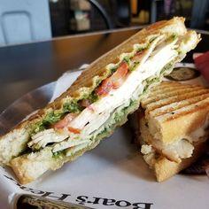 The Pesto Chicken sandwich at Paninis.and Company is one of my new fasvorite things. #pestochicken #sandwich #panini #paninisandcompany #littlerockeats #littlerock #littlerockrestaurants #arkansasfood