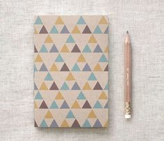 Graduation Gift, for Men, for Him - Geometric Notebook & Pencil Set - Brown Journal w/ Triangles - Stocking Stuffer